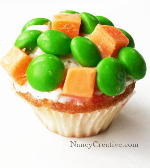 peas and carrots cupcake