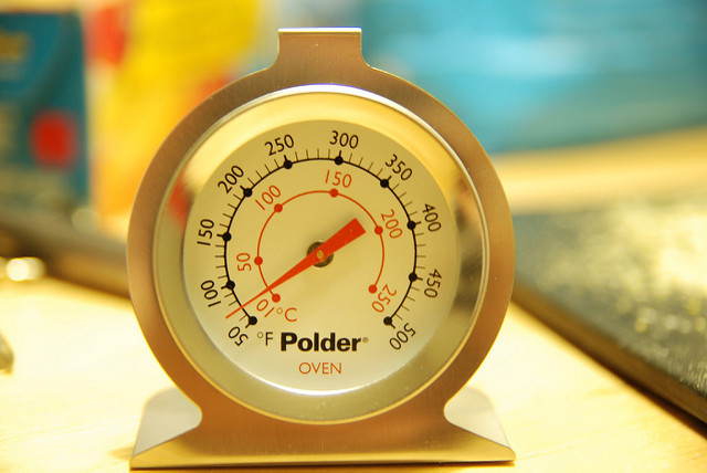 Oven Thermometer shown on kitchen counter with blurred kitchen background