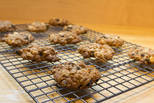 Cooling Rack shown with cooling oatmeal raisin cookies on a wood-tone counter