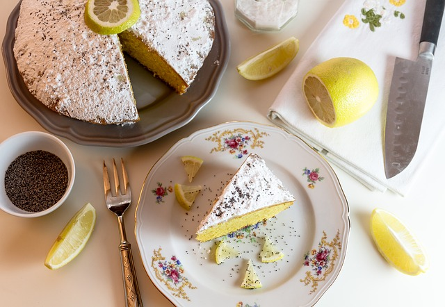 A piece of lemon flavored Mothers day cake.