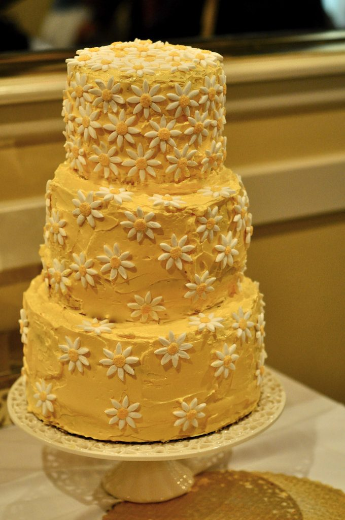 A yellow wedding cake. Lemon can be a great wedding cake flavor