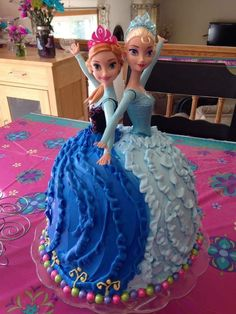 Elsa and Anna Winter/Summer Cake