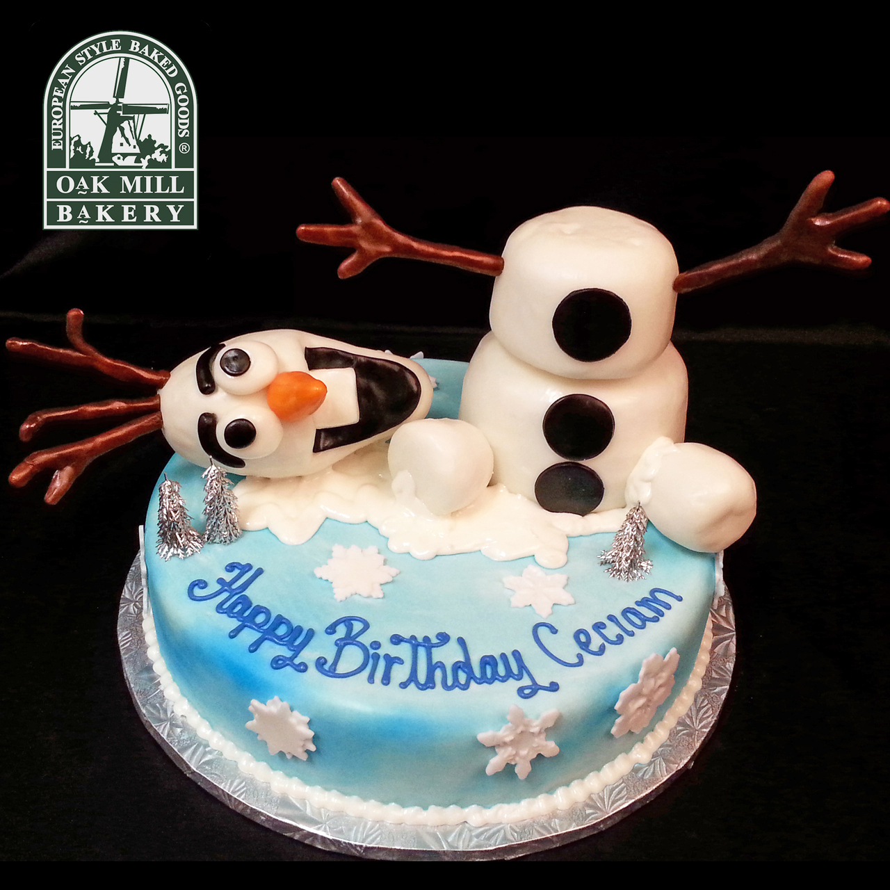 Melted Olaf Face Cake Design