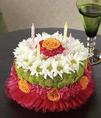 Flower Cake with candles