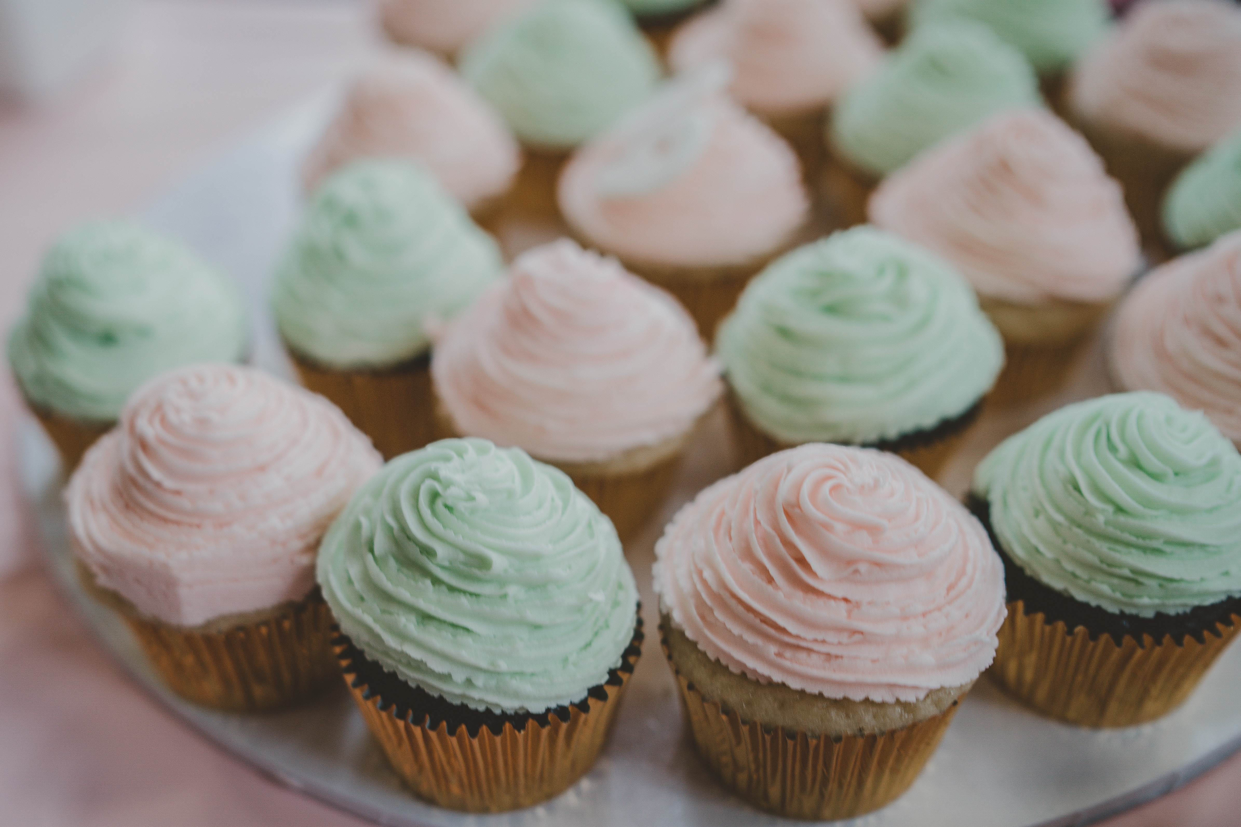 Pink and green cupcakes