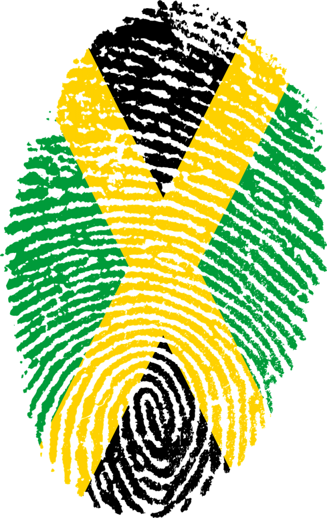 jamaica flag on a finger print