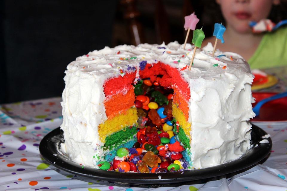 Rainbow open star tip cake